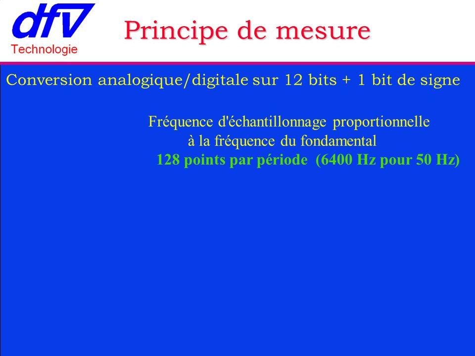 Conversion analogique/digitale sur 12 bits + 1 bit de signe Fréquence d échantillonnage proportionnelle à la fréquence du fondamental 128 points par période (6400 Hz pour 50 Hz) Principe de mesure