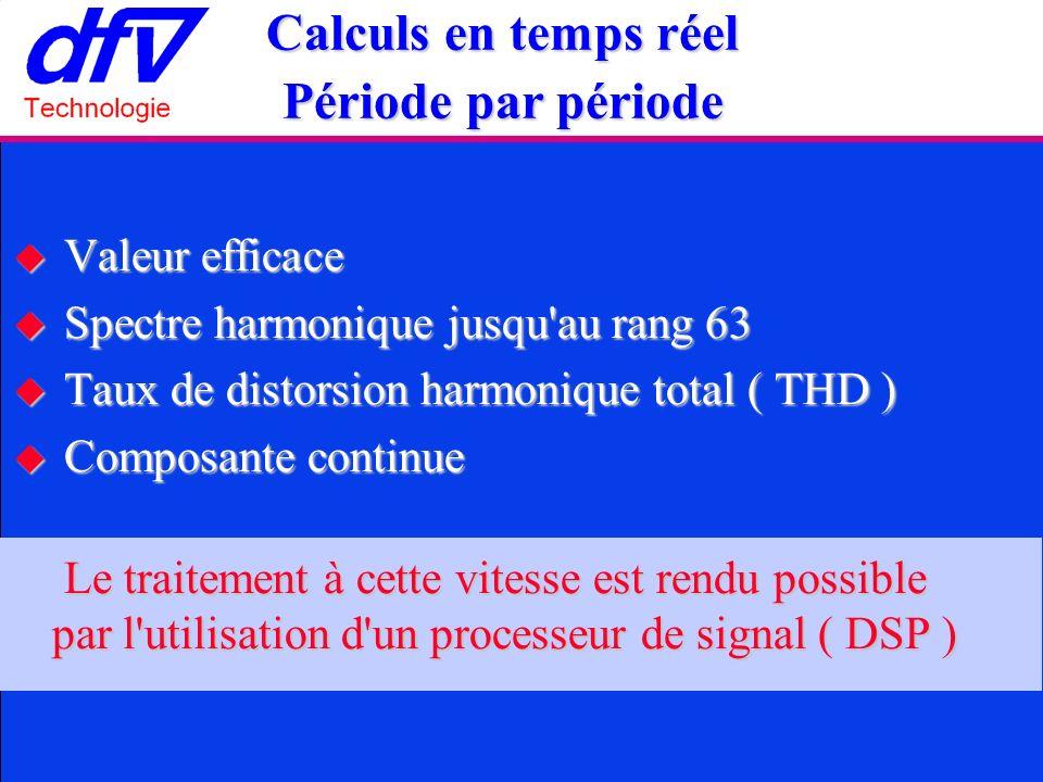 Valeur efficace Valeur efficace Spectre harmonique jusqu au rang 63 Spectre harmonique jusqu au rang 63 Taux de distorsion harmonique total ( THD ) Taux de distorsion harmonique total ( THD ) Composante continue Composante continue Le traitement à cette vitesse est rendu possible par l utilisation d un processeur de signal ( DSP ) Le traitement à cette vitesse est rendu possible par l utilisation d un processeur de signal ( DSP ) Calculs en temps réel Période par période