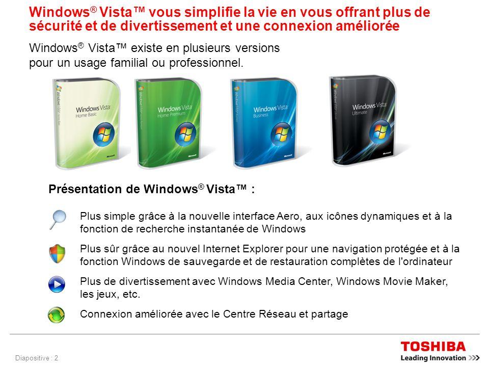 Diapositive : 2 Windows ® Vista vous simplifie la vie en vous offrant plus de sécurité et de divertissement et une connexion améliorée Windows ® Vista existe en plusieurs versions pour un usage familial ou professionnel.
