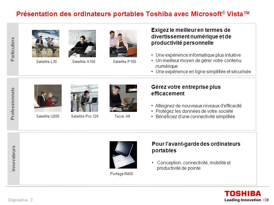 Diapositive : 3 Présentation des ordinateurs portables Toshiba avec Microsoft ® Vista Exigez le meilleur en termes de divertissement numérique et de productivité personnelle Une expérience informatique plus intuitive Un meilleur moyen de gérer votre contenu numérique Une expérience en ligne simplifiée et sécurisée Satellite L30Satellite A100Satellite P100 Particuliers Gérez votre entreprise plus efficacement Atteignez de nouveaux niveaux d efficacité Protégez les données de votre société Bénéficiez d une connectivité simplifiée Satellite U200Satellite Pro 120Tecra A8 Professionnels Pour lavant-garde des ordinateurs portables Conception, connectivité, mobilité et productivité de pointe Portégé R400 Innovateurs