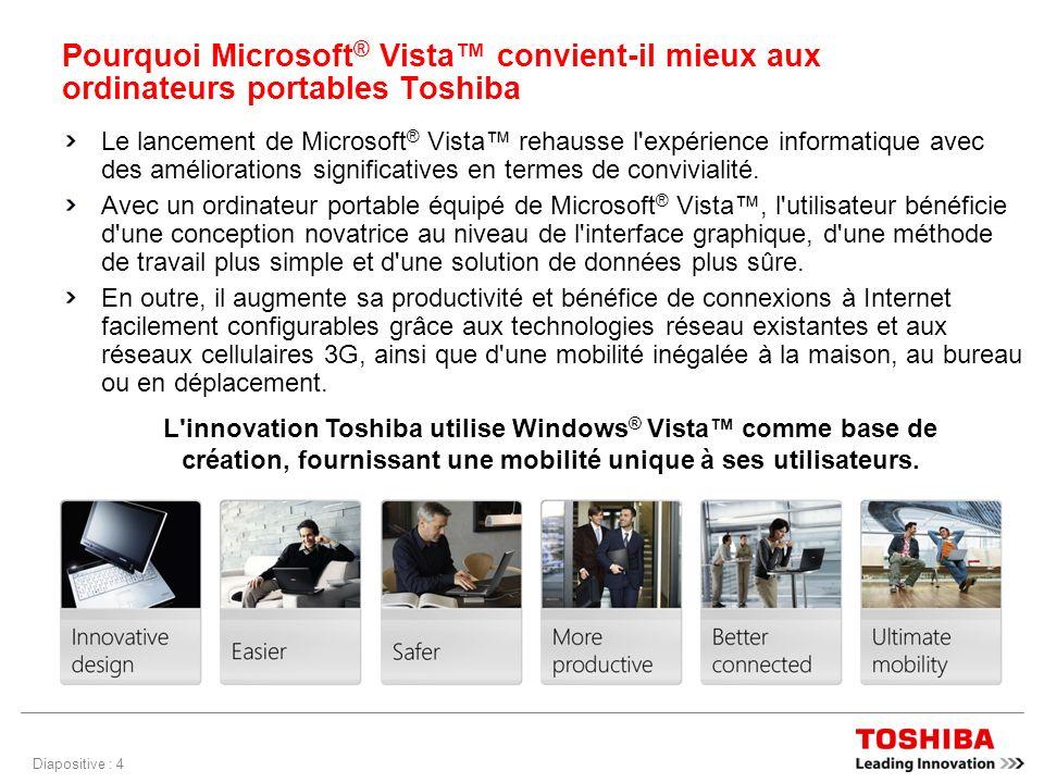 Diapositive : 4 Pourquoi Microsoft ® Vista convient-il mieux aux ordinateurs portables Toshiba Le lancement de Microsoft ® Vista rehausse l expérience informatique avec des améliorations significatives en termes de convivialité.