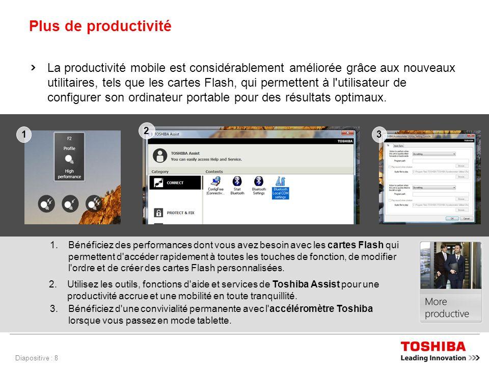 Diapositive : 8 Plus de productivité La productivité mobile est considérablement améliorée grâce aux nouveaux utilitaires, tels que les cartes Flash, qui permettent à l utilisateur de configurer son ordinateur portable pour des résultats optimaux.