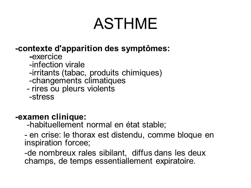 ASTHME -contexte d'apparition des symptômes: -exercice -infection virale -irritants (tabac, produits chimiques) -changements climatiques - rires ou pl
