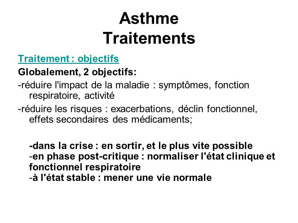 Asthme Traitements Traitement : objectifs Globalement, 2 objectifs: -réduire l'impact de la maladie : symptômes, fonction respiratoire, activité -rédu