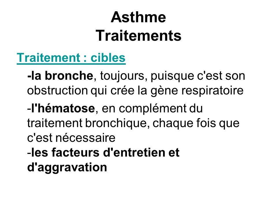 Asthme Traitements Traitement : cibles -la bronche, toujours, puisque c'est son obstruction qui crée la gène respiratoire -l'hématose, en complément d