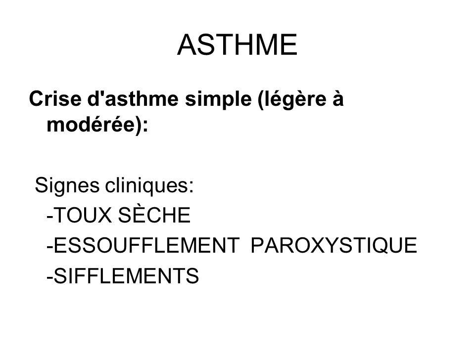 ASTHME Crise d'asthme simple (légère à modérée): Signes cliniques: -TOUX SÈCHE -ESSOUFFLEMENT PAROXYSTIQUE -SIFFLEMENTS