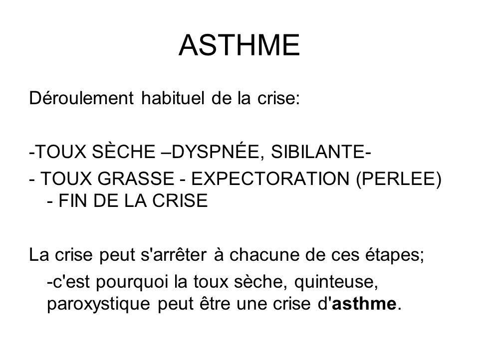 ASTHME Déroulement habituel de la crise: -TOUX SÈCHE –DYSPNÉE, SIBILANTE- - TOUX GRASSE - EXPECTORATION (PERLEE) - FIN DE LA CRISE La crise peut s'arr