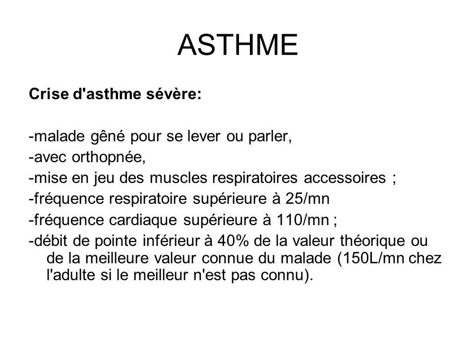 ASTHME Crise d'asthme sévère: -malade gêné pour se lever ou parler, -avec orthopnée, -mise en jeu des muscles respiratoires accessoires ; -fréquence r