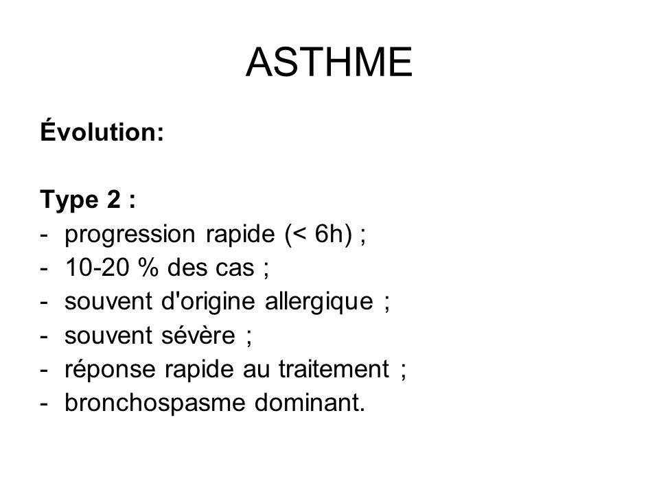 ASTHME Évolution: Type 2 : -progression rapide (< 6h) ; -10-20 % des cas ; -souvent d'origine allergique ; -souvent sévère ; -réponse rapide au traite