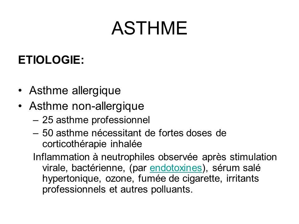 ASTHME ETIOLOGIE: Asthme allergique Asthme non-allergique –25 asthme professionnel –50 asthme nécessitant de fortes doses de corticothérapie inhalée I