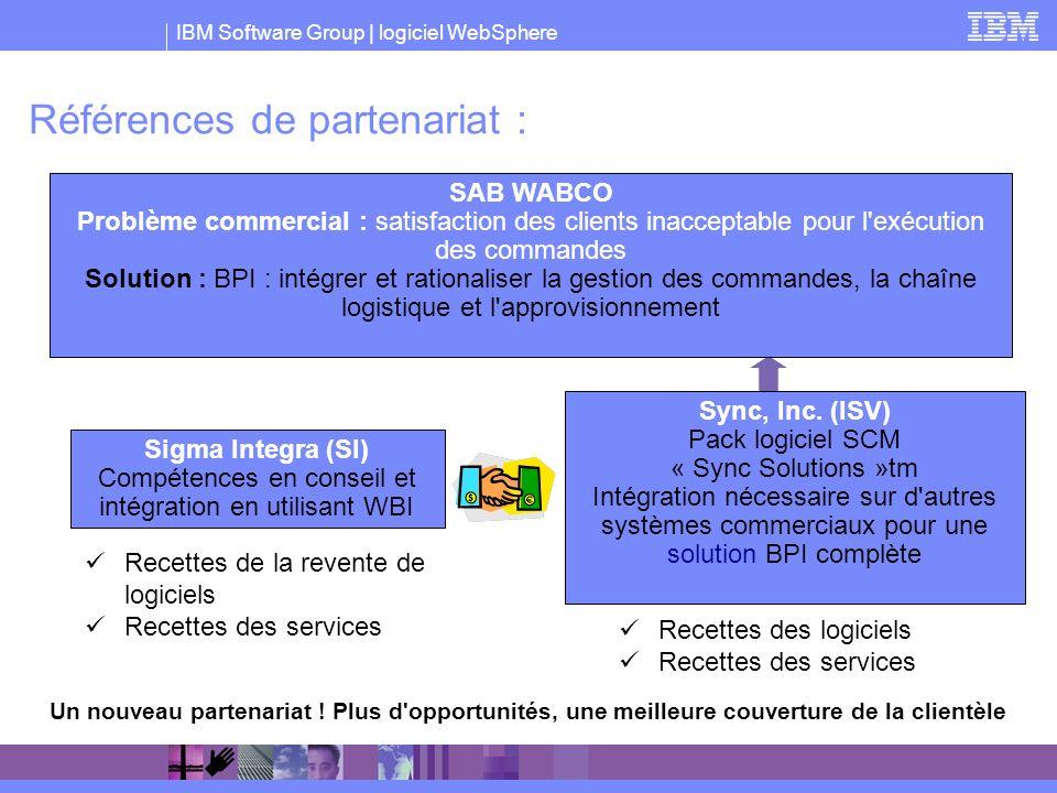 IBM Software Group | logiciel WebSphere Références de partenariat : Recettes de la revente de logiciels Recettes des services Recettes des logiciels R