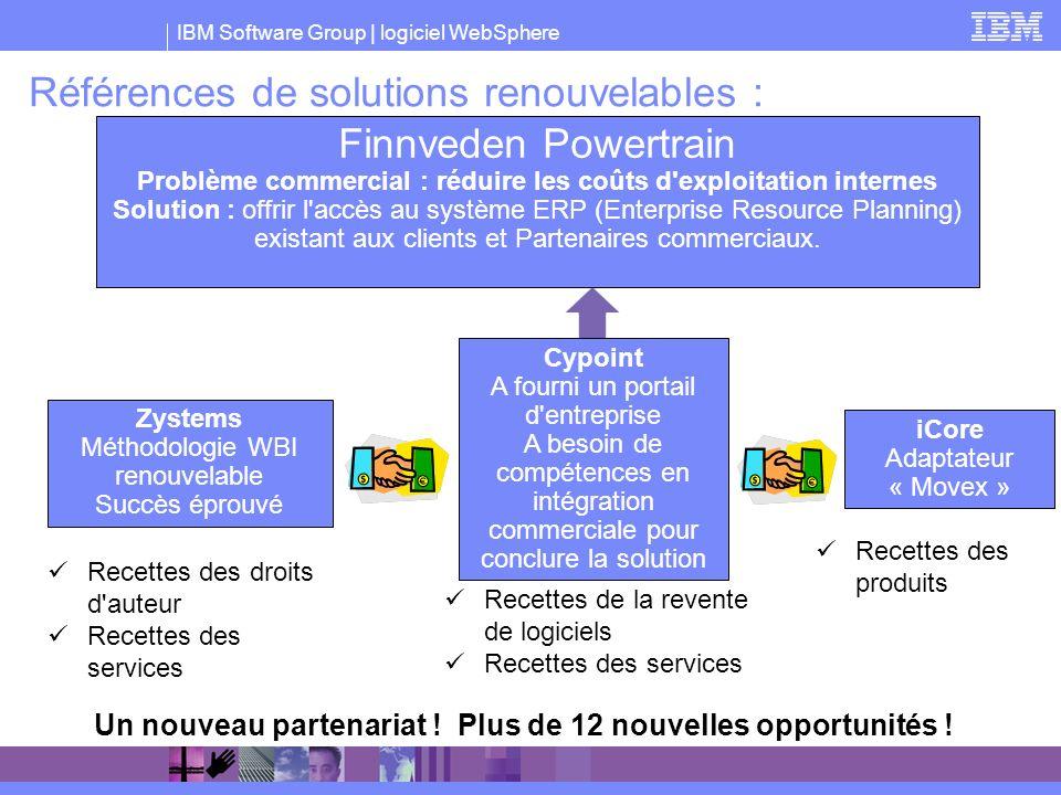 IBM Software Group | logiciel WebSphere Références de solutions renouvelables : Recettes des droits d'auteur Recettes des services Recettes de la reve