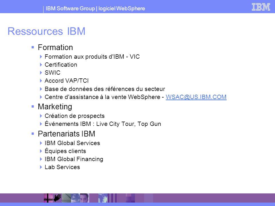 IBM Software Group | logiciel WebSphere Ressources IBM Formation Formation aux produits d'IBM - VIC Certification SWIC Accord VAP/TCI Base de données