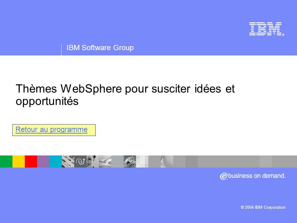 IBM Software Group | logiciel WebSphere ® Thèmes WebSphere pour susciter idées et opportunités IBM Software Group © 2004 IBM Corporation Retour au pro