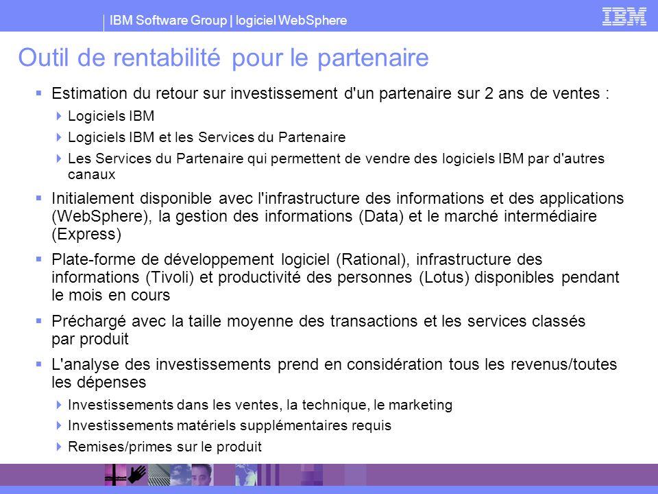 IBM Software Group | logiciel WebSphere Outil de rentabilité pour le partenaire Estimation du retour sur investissement d'un partenaire sur 2 ans de v