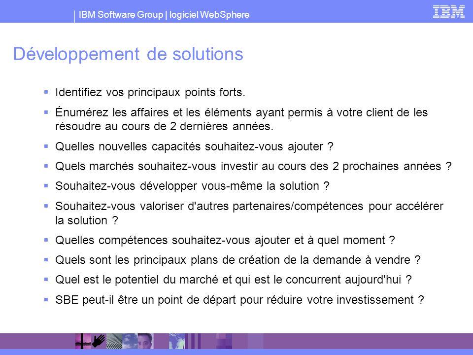 IBM Software Group | logiciel WebSphere Développement de solutions Identifiez vos principaux points forts. Énumérez les affaires et les éléments ayant