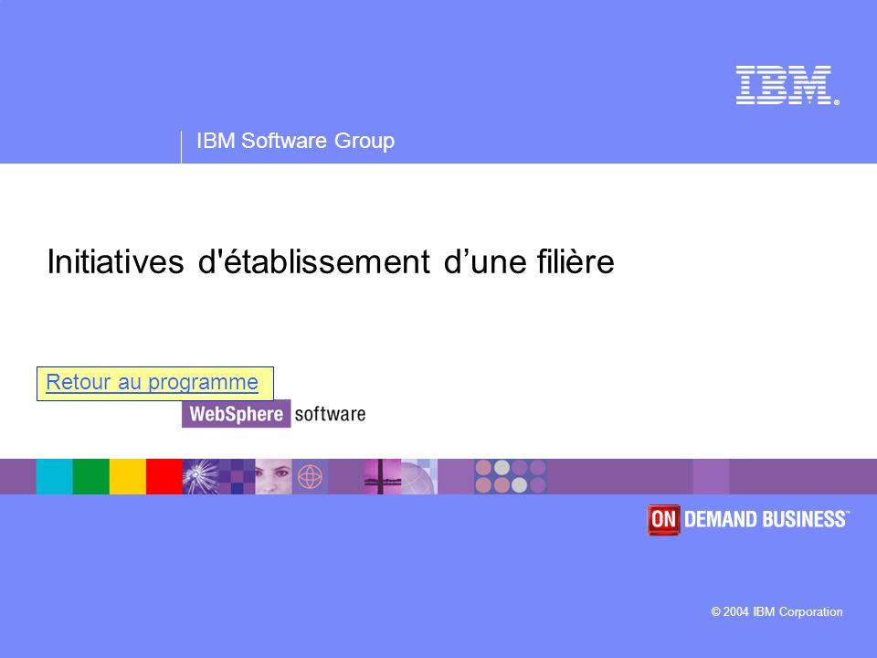 ® IBM Software Group © 2004 IBM Corporation Initiatives d'établissement dune filière Retour au programme