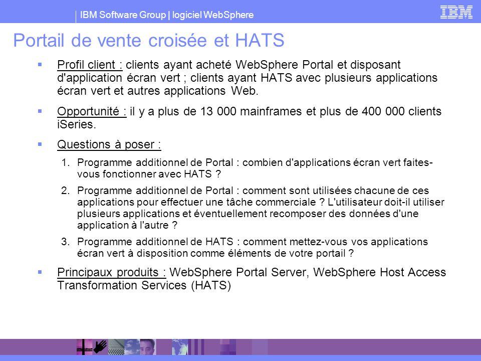 IBM Software Group | logiciel WebSphere Portail de vente croisée et HATS Profil client : clients ayant acheté WebSphere Portal et disposant d'applicat
