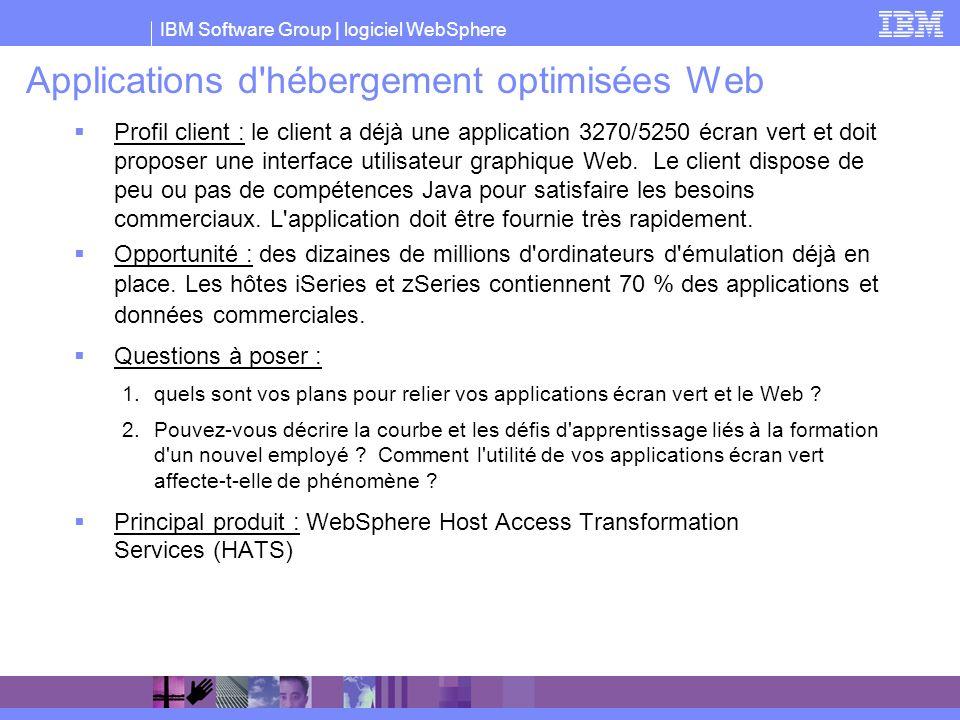 IBM Software Group | logiciel WebSphere Applications d'hébergement optimisées Web Profil client : le client a déjà une application 3270/5250 écran ver