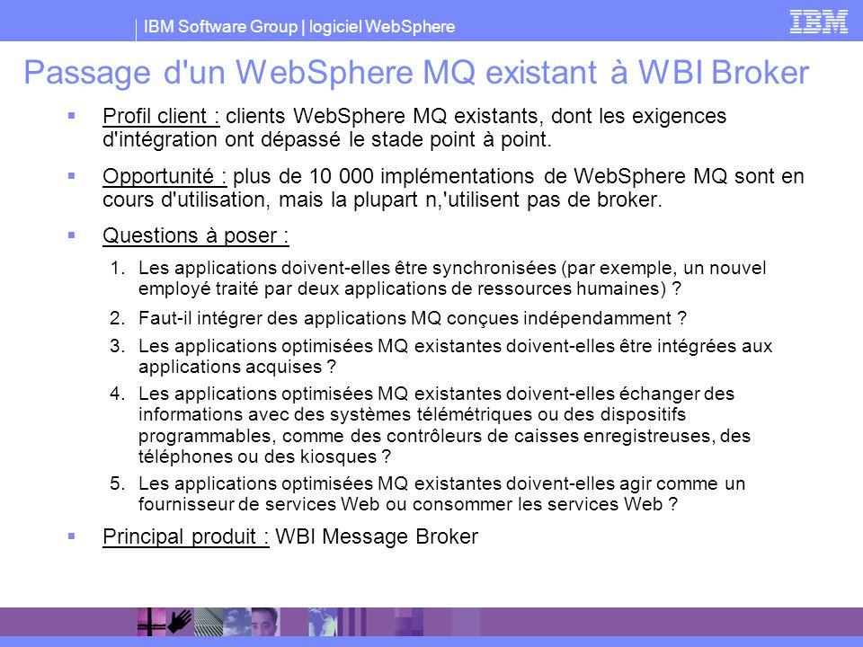 IBM Software Group | logiciel WebSphere Passage d'un WebSphere MQ existant à WBI Broker Profil client : clients WebSphere MQ existants, dont les exige