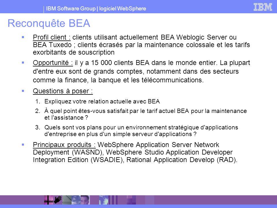 IBM Software Group | logiciel WebSphere Reconquête BEA Profil client : clients utilisant actuellement BEA Weblogic Server ou BEA Tuxedo ; clients écra