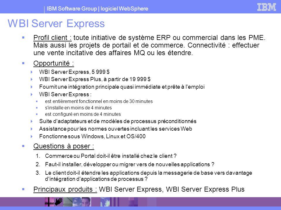 IBM Software Group | logiciel WebSphere WBI Server Express Profil client : toute initiative de système ERP ou commercial dans les PME. Mais aussi les