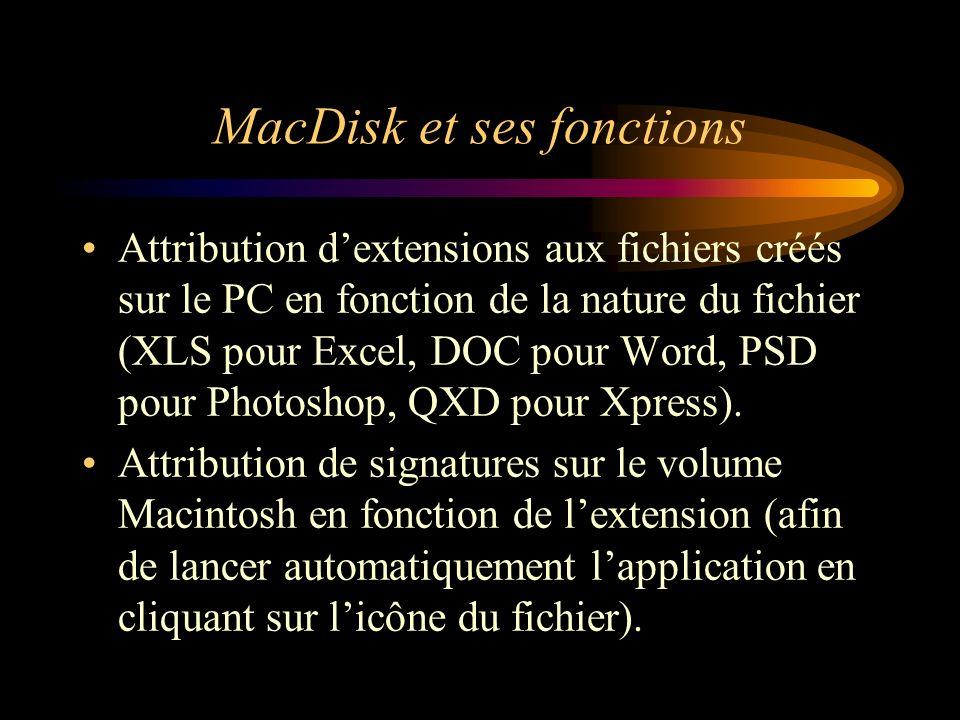 MacDisk et ses fonctions Attribution dextensions aux fichiers créés sur le PC en fonction de la nature du fichier (XLS pour Excel, DOC pour Word, PSD