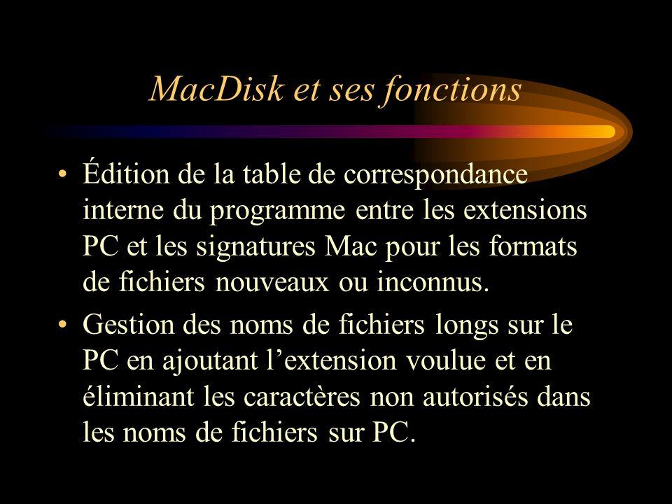 MacDisk et ses fonctions Édition de la table de correspondance interne du programme entre les extensions PC et les signatures Mac pour les formats de