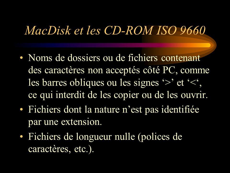 MacDisk et les CD-ROM ISO 9660 Noms de dossiers ou de fichiers contenant des caractères non acceptés côté PC, comme les barres obliques ou les signes