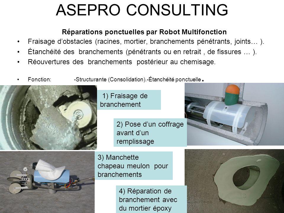 ASEPRO CONSULTING Réparations ponctuelles par Robot Multifonction Fraisage dobstacles (racines, mortier, branchements pénétrants, joints… ). Étanchéit