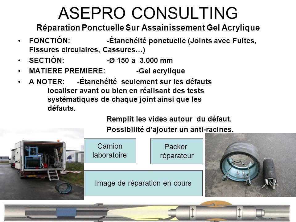 ASEPRO CONSULTING Réparation Ponctuelle Sur Assainissement Gel Acrylique FONCTIÓN: -Étanchéité ponctuelle (Joints avec Fuites, Fissures circulaires, C