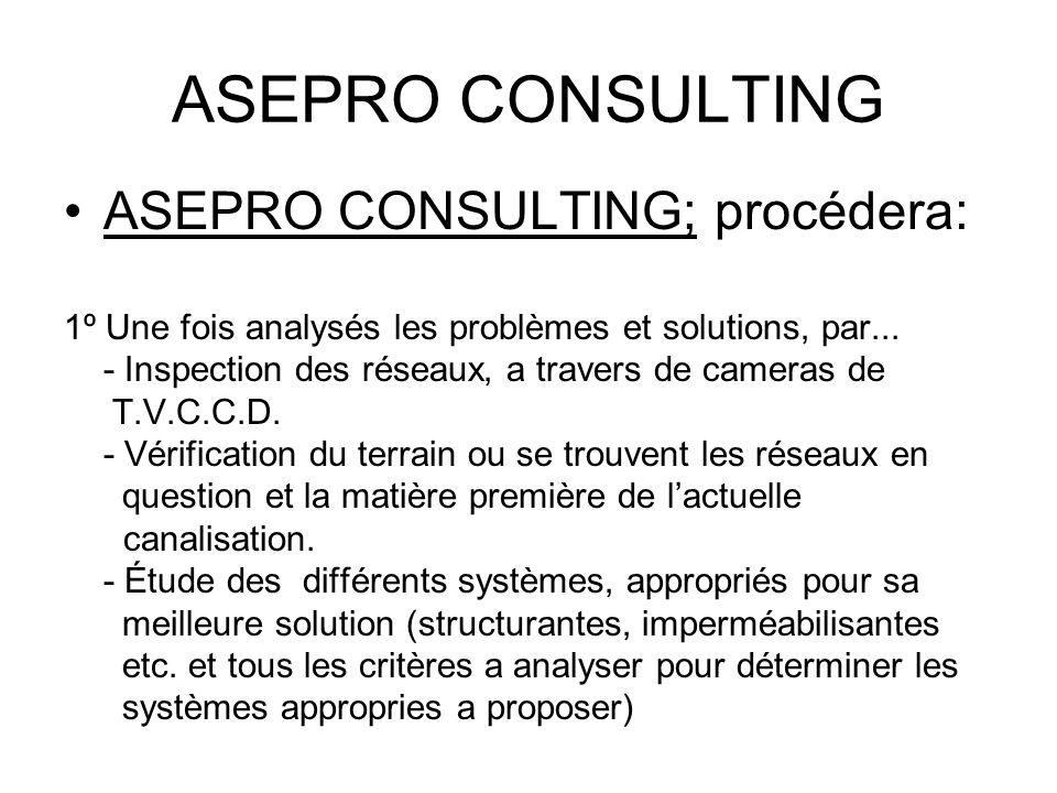ASEPRO CONSULTING ASEPRO CONSULTING; procédera: 1º Une fois analysés les problèmes et solutions, par... - Inspection des réseaux, a travers de cameras
