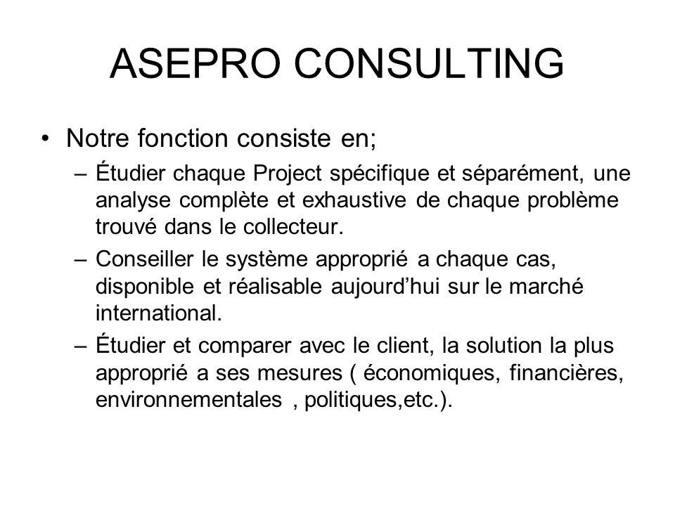 ASEPRO CONSULTING Notre fonction consiste en; –Étudier chaque Project spécifique et séparément, une analyse complète et exhaustive de chaque problème