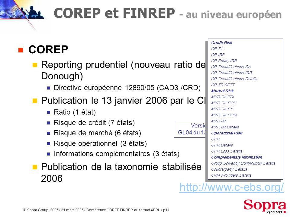 © Sopra Group, 2006 / 21 mars 2006 / Conférence COREP FINREP au format XBRL / p10 COREP et FINREP - lorigine Exigences toujours plus fortes en matière