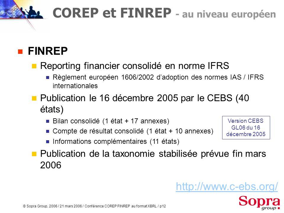 © Sopra Group, 2006 / 21 mars 2006 / Conférence COREP FINREP au format XBRL / p11 COREP Reporting prudentiel (nouveau ratio de solvabilité Mc Donough)