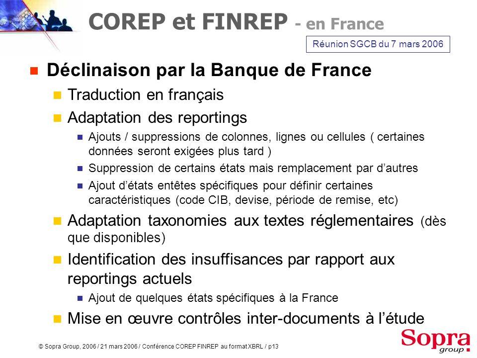 © Sopra Group, 2006 / 21 mars 2006 / Conférence COREP FINREP au format XBRL / p12 FINREP Reporting financier consolidé en norme IFRS Règlement europée