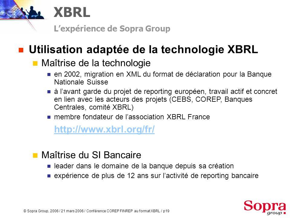 © Sopra Group, 2006 / 21 mars 2006 / Conférence COREP FINREP au format XBRL / p18 XBRL Simplifier la complexité Christophe Vigneron Consultant Senior