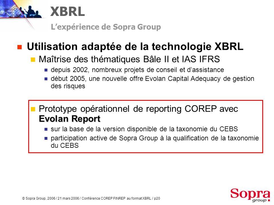 © Sopra Group, 2006 / 21 mars 2006 / Conférence COREP FINREP au format XBRL / p19 Utilisation adaptée de la technologie XBRL Maîtrise de la technologi