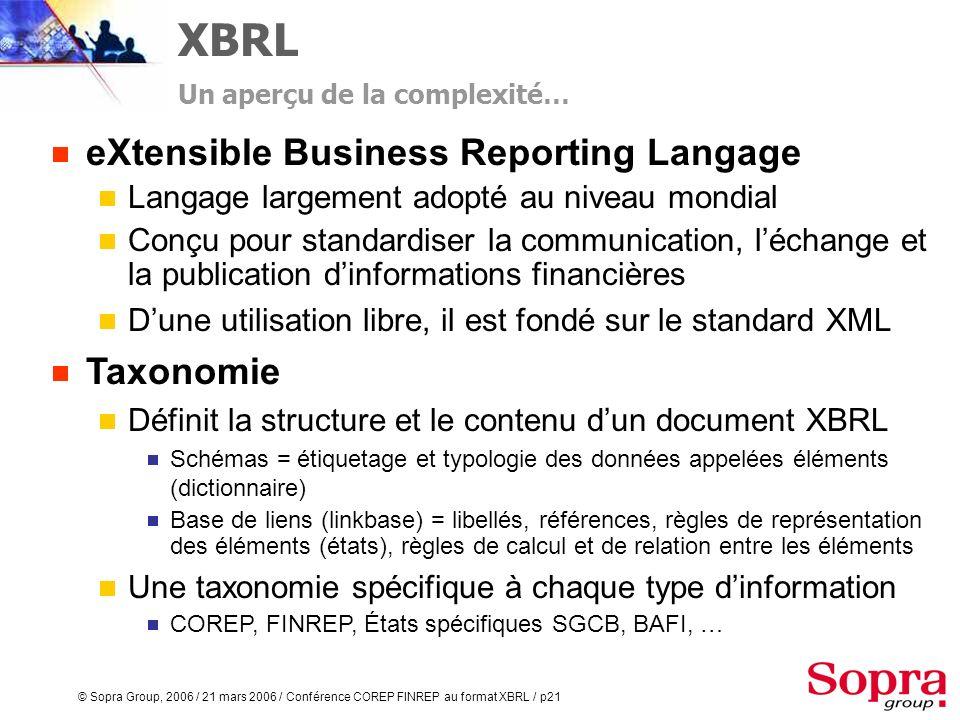 © Sopra Group, 2006 / 21 mars 2006 / Conférence COREP FINREP au format XBRL / p20 Utilisation adaptée de la technologie XBRL Maîtrise des thématiques