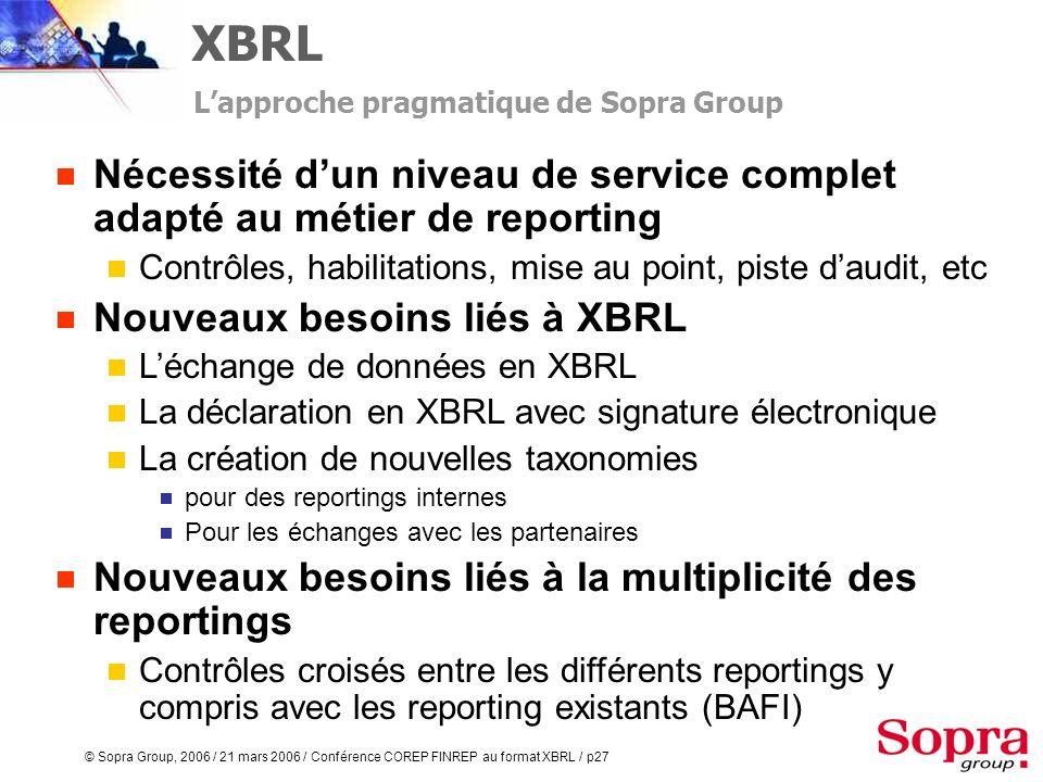 © Sopra Group, 2006 / 21 mars 2006 / Conférence COREP FINREP au format XBRL / p26 Template = Etats Mesures = Colonne Lapproche pragmatique de Sopra Gr