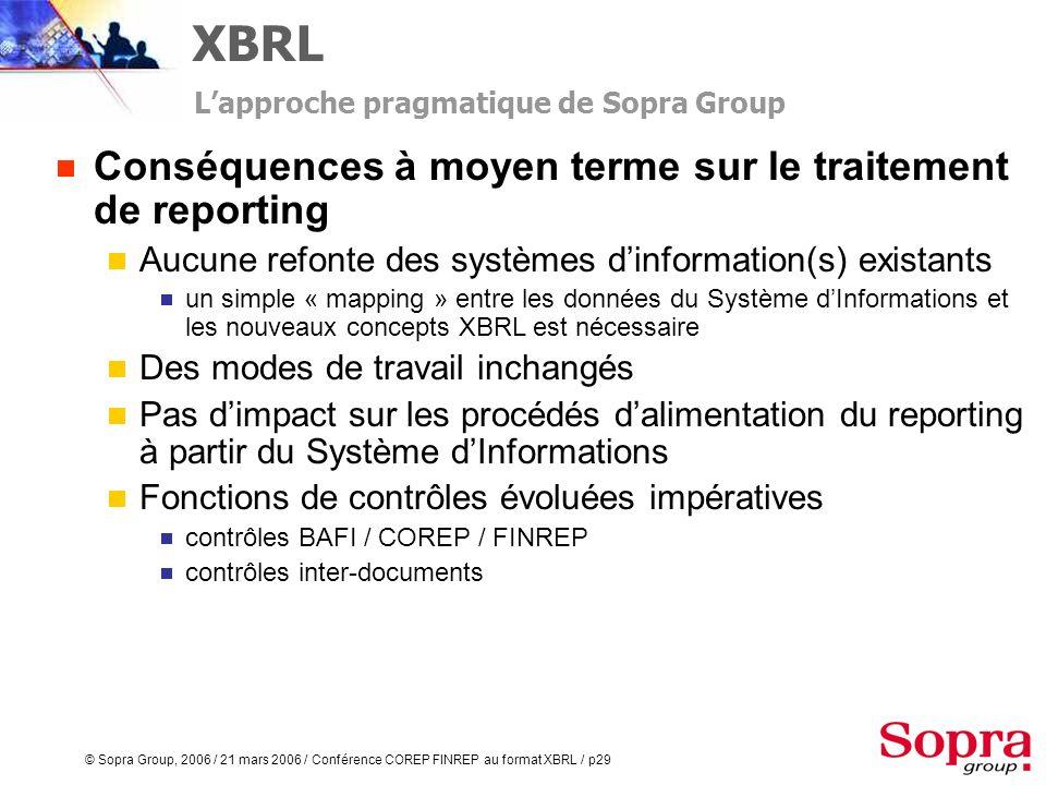 © Sopra Group, 2006 / 21 mars 2006 / Conférence COREP FINREP au format XBRL / p28 Rapports Taxonomies COREP et FINREP au format XBRL Une solution mixt