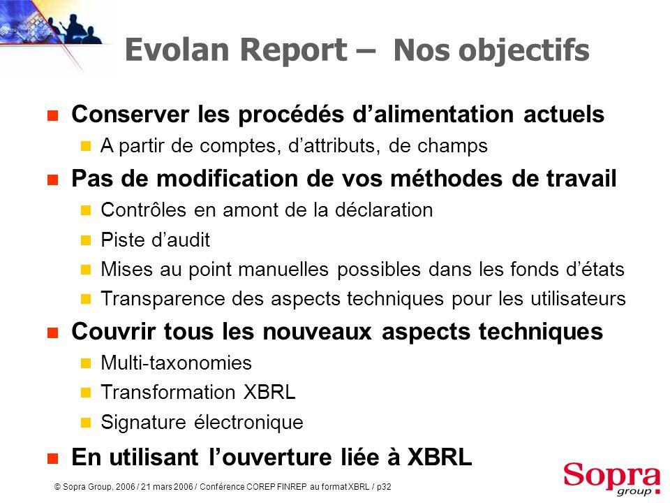 © Sopra Group, 2006 / 21 mars 2006 / Conférence COREP FINREP au format XBRL / p31 COREP et FINREP au format XBRL Evolan Report : la solution actuelle