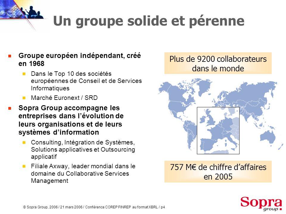 © Sopra Group, 2006 / 21 mars 2006 / Conférence COREP FINREP au format XBRL / p3 Agenda Introduction COREP et FINREP Le calendrier de la Banque de Fra