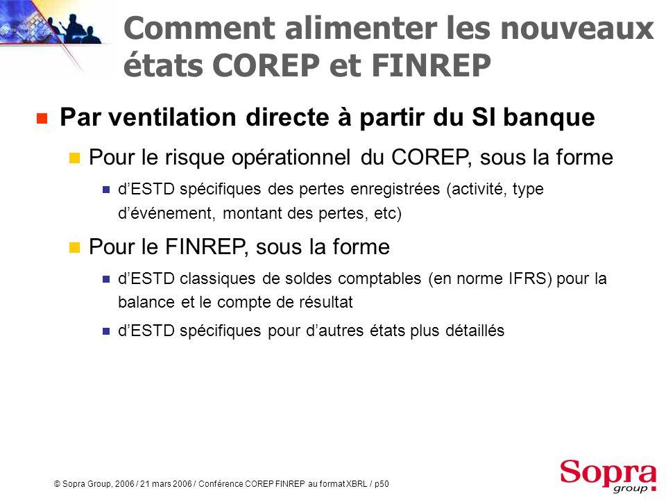 © Sopra Group, 2006 / 21 mars 2006 / Conférence COREP FINREP au format XBRL / p49 Par ventilation directe à partir du SI banque A partir de comptes et
