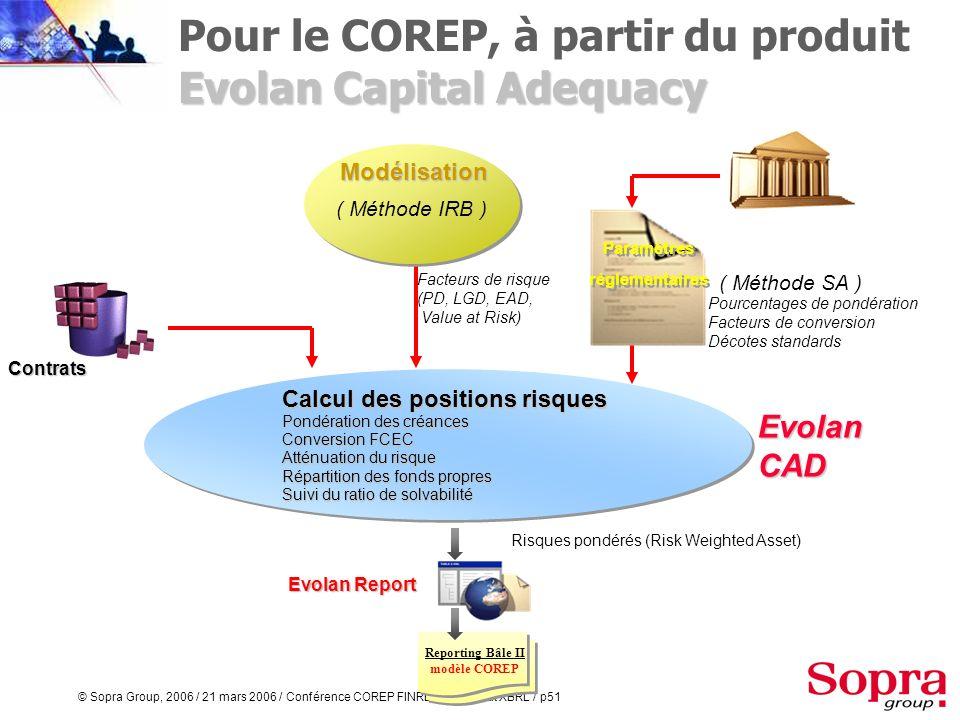 © Sopra Group, 2006 / 21 mars 2006 / Conférence COREP FINREP au format XBRL / p50 Par ventilation directe à partir du SI banque Pour le risque opérati