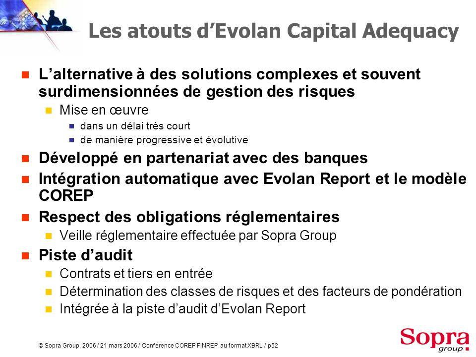 © Sopra Group, 2006 / 21 mars 2006 / Conférence COREP FINREP au format XBRL / p51 Evolan Capital Adequacy Pour le COREP, à partir du produit Evolan Ca