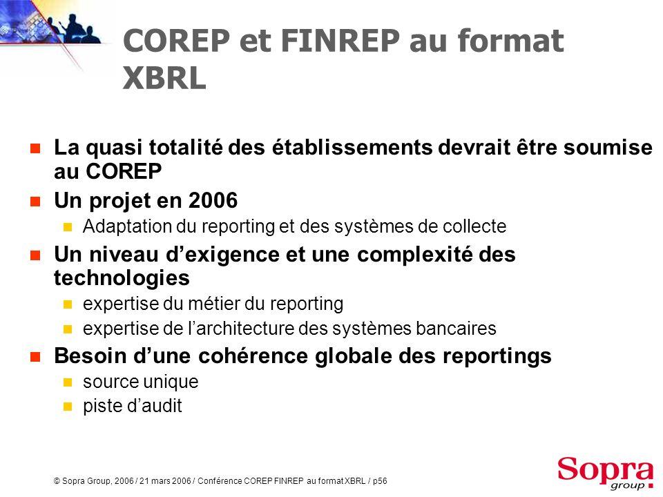 © Sopra Group, 2006 / 21 mars 2006 / Conférence COREP FINREP au format XBRL / p55 En conclusion