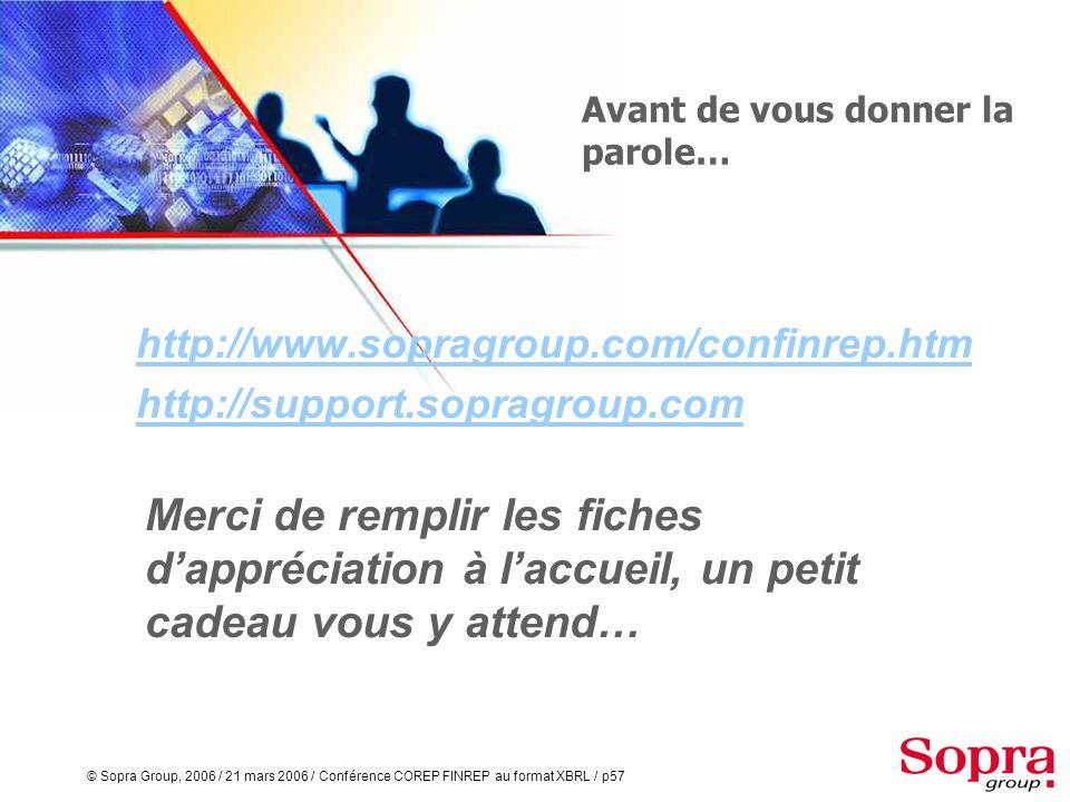 © Sopra Group, 2006 / 21 mars 2006 / Conférence COREP FINREP au format XBRL / p56 COREP et FINREP au format XBRL La quasi totalité des établissements