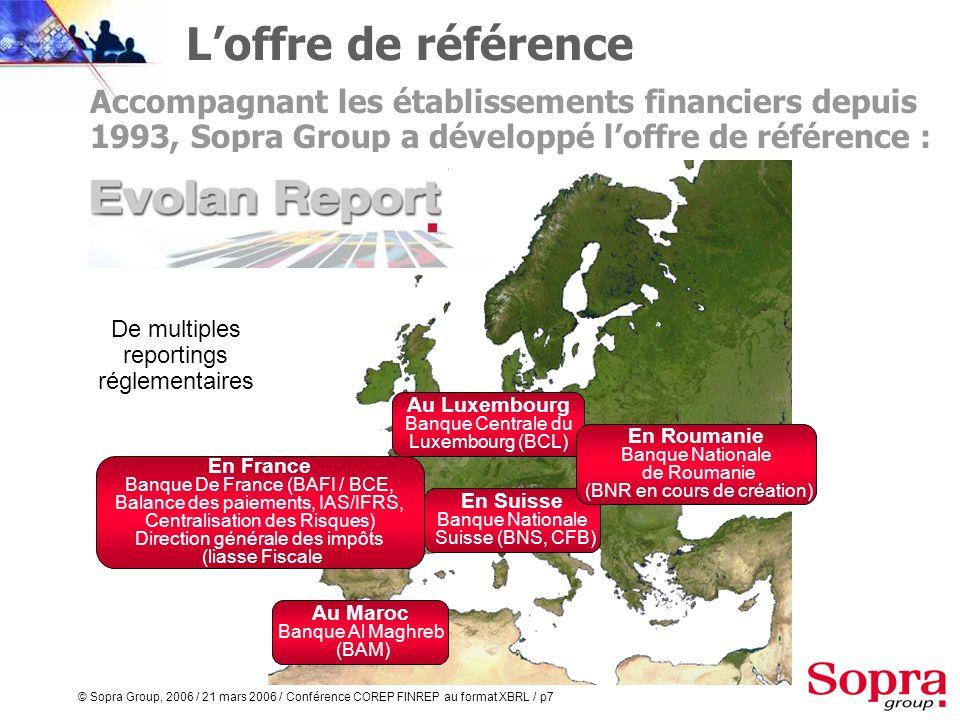© Sopra Group, 2006 / 21 mars 2006 / Conférence COREP FINREP au format XBRL / p6 Plus de 600 références : Réseaux mutualistes, banque retail, banque c