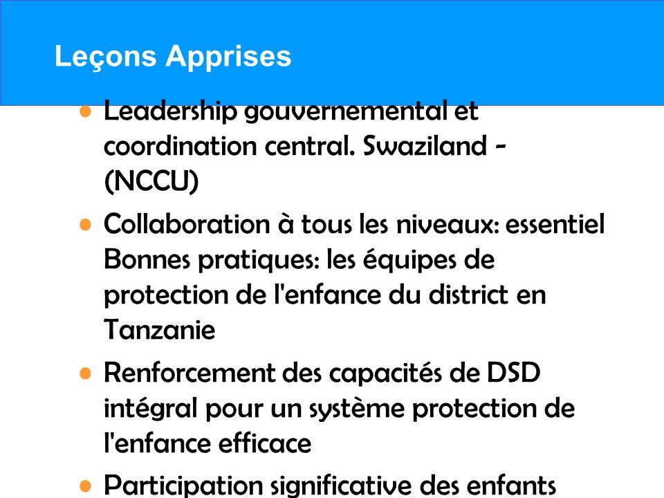 Leçons Apprises Leadership gouvernemental et coordination central. Swaziland - (NCCU) Collaboration à tous les niveaux: essentiel Bonnes pratiques: le